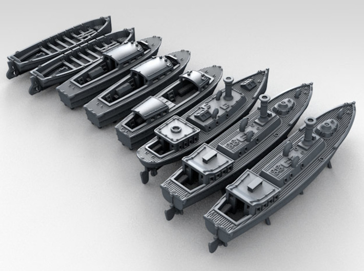 1/500 WW2 RN Boat Set 4 Without Mounts 3d printed 3d render showing product detail