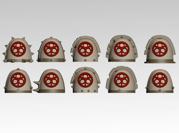 Lords of Decay Spiked Shoulder Pads x10 3d printed Product is sold unpainted.