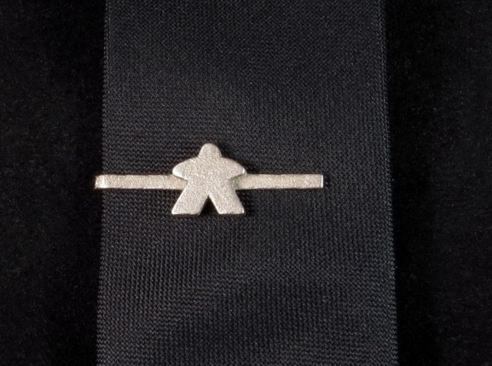 Meeple Tie Clip 3d printed Small Version, Polished Nickel Steel