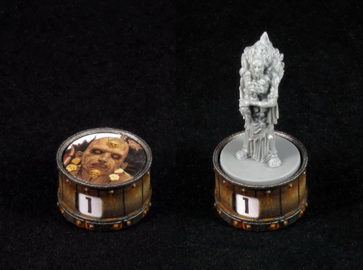 Point counter/mini base - 25mm (rotating) 3d printed Hand-painted White Strong Flexible Polished. Counter and miniature copyright Monolith.