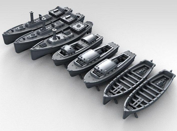 1/700 WW2 RN Boat Set 4 Without Mounts 3d printed 3d render showing product detail