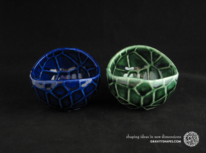 Porcelain plant pot #13 (size small, round) 3d printed Porcelain plant pots #13 (size small, round) - Cobalt Blue and Oribe Green