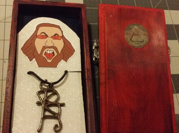 Sigil 3d printed pendant on necklace, show with additional packaging (not included)