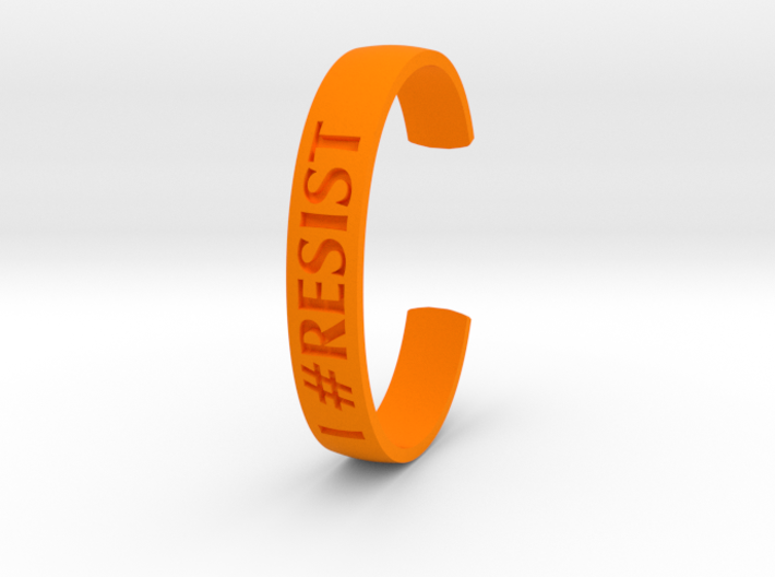 I RESIST Text Cuff (Medium-nylon) 3d printed