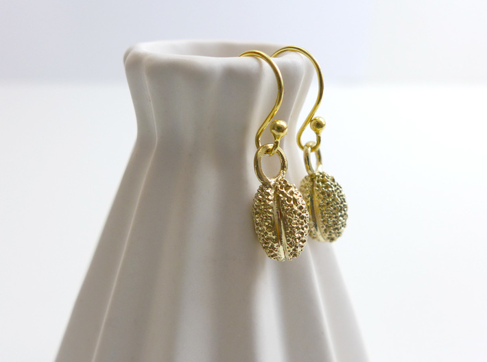 Willow Pollen Earrings - Nature Jewelry 3d printed Willow pollen earrings in raw brass