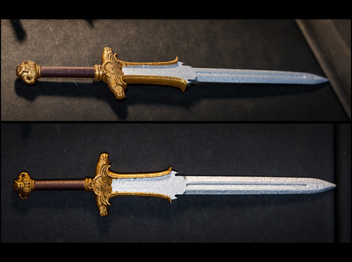 ACC-04-Sword 7inch MOTU v2.4 - Atlantean Sword 3d printed Frosted detail plastic, painted with Acrylics.