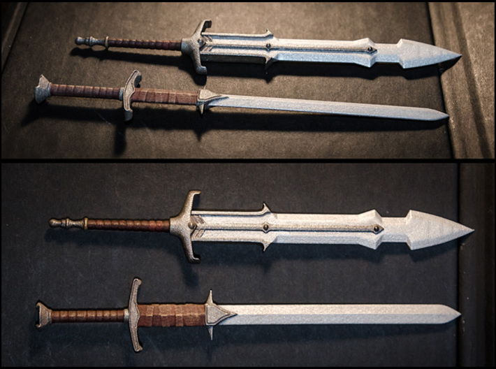 ACC-02-GreatSwords 7inch MOTU v2.3 3d printed White Strong and Flexible Polished material. Painted with Acrylics.