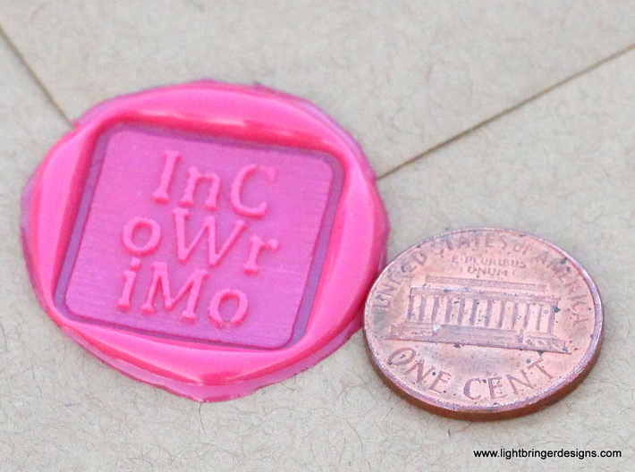 InCoWriMo Wax Seal 3d printed InCoWriMo wax impression in Plumeria Pink sealing wax.  Penny for scale.