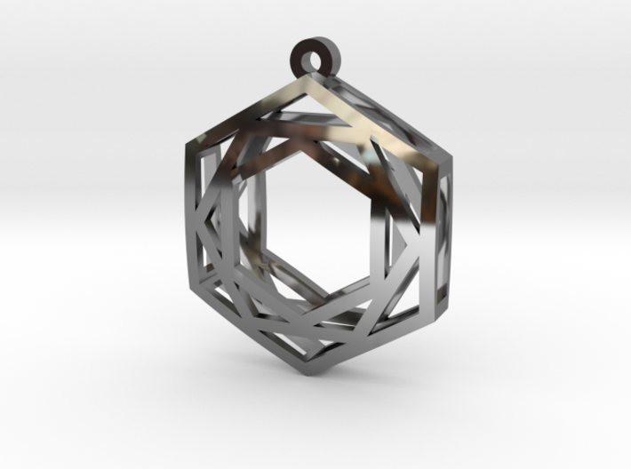 Nested Hexagon Earings 3d printed