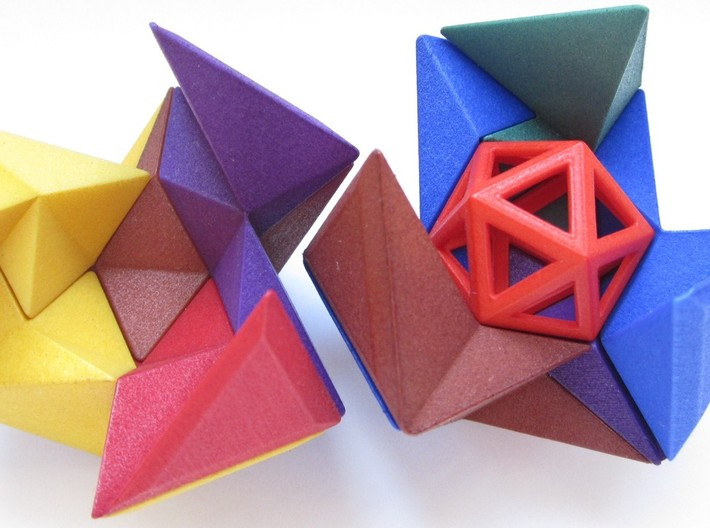 12 Different Piece Icosahedron 3d printed Partially assembled