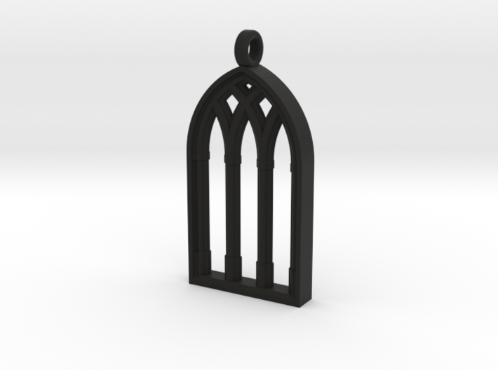Castle Window Block Pendant 3d printed