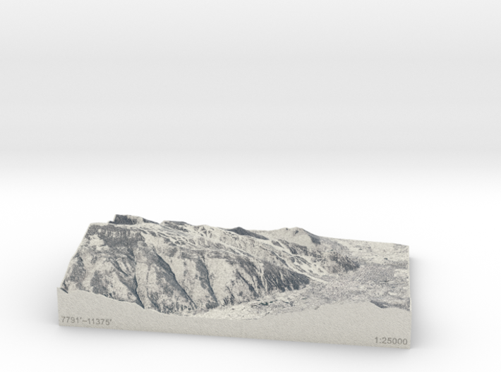Aspen in Winter, Colorado, USA, 1:25000 3d printed