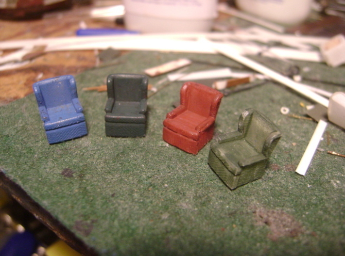 HO Pullman Parlor Car Seating Kit 3d printed More painted chairs!