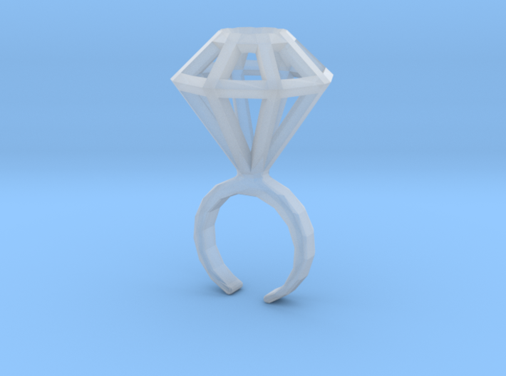 Haxagonal diamond ring - standard size 3d printed