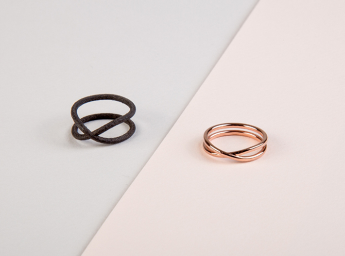 rollercoaster - internal ring 3d printed pictured material: black matte steel and rose gold plated