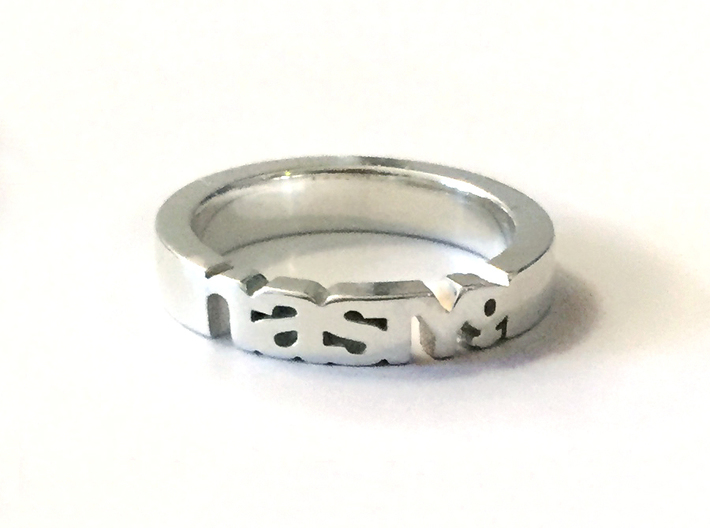 Nasty Woman Ring in Polished Silver 3d printed
