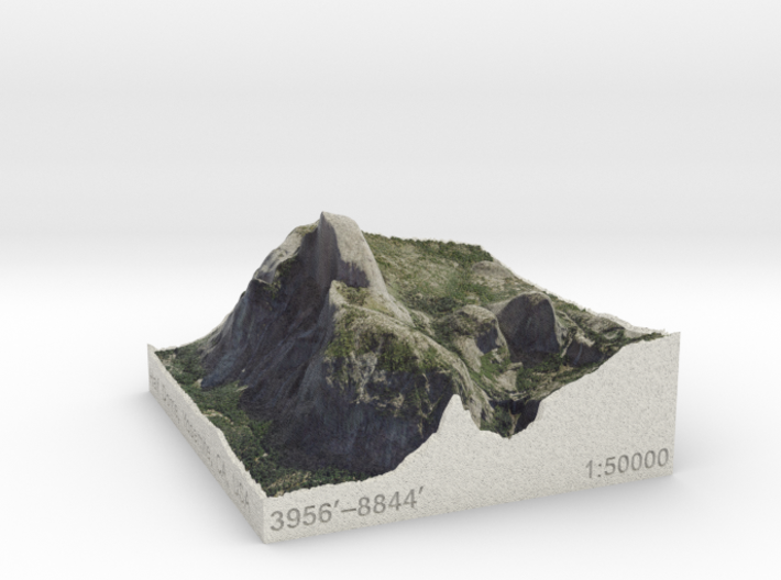 Half Dome, California, USA, 1:50000 3d printed