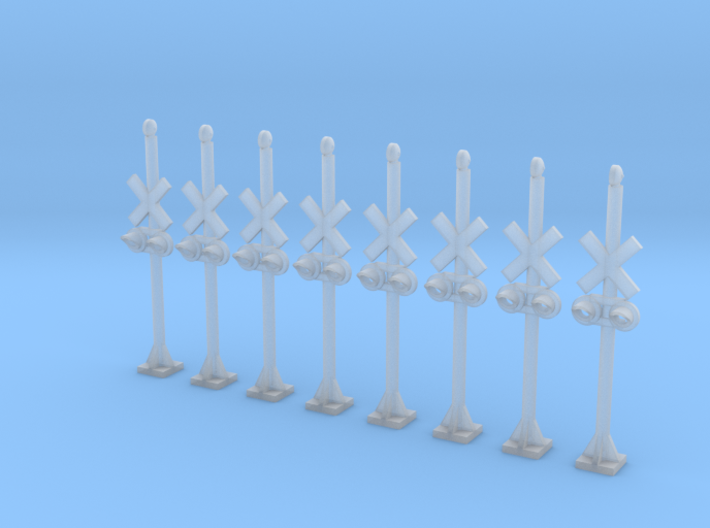 N Scale Crossing Warning Lights 8pc LED 3d printed