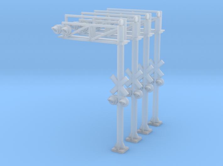N Scale Crossing Gantry 1 Lane 4pc LED 3d printed