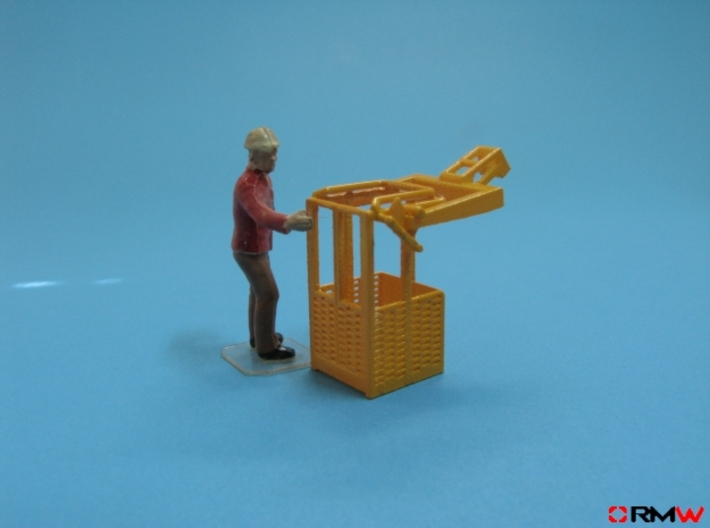 HO/1:87 Man basket for mini crawler crane 3d printed Painted (figure not included)