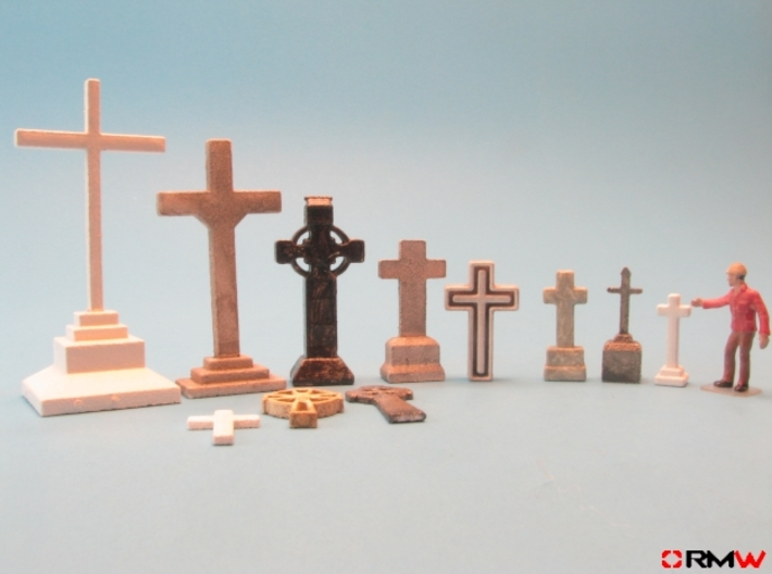 HO/1:87 Cemetery set 1 - crosses kit 3d printed en]painted and assembled [de]bemalt und gebaut