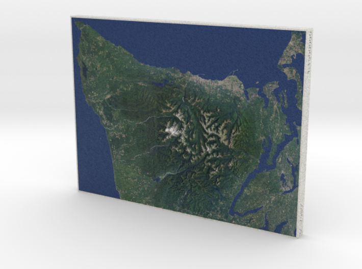 Olympic Peninsula, WA, USA, 1:1500000 3d printed