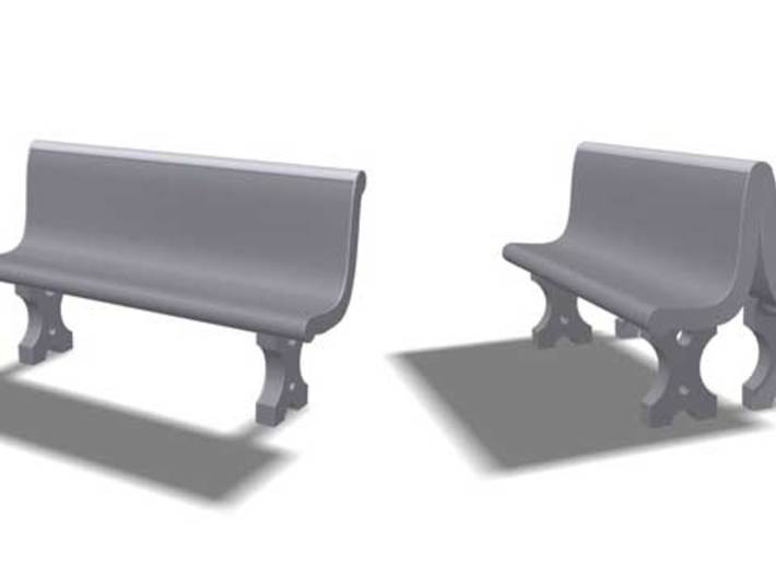 Cement Benches, HO Scale, 10 + 6 doubles 3d printed Single and dual concrete benches