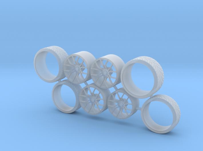 SET TSW Zenon 23 inch+Tire for Aoshima - 1/24 3d printed