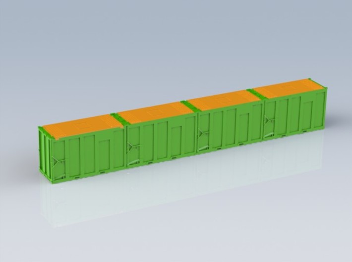 HO 1/87 MSW 4x Trash Containers for Atlas Flatcar 3d printed The four-pack containers will be the same as the single, but to save costs I have removed the 'un-seen' ends.