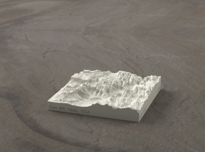 3'' Zion Canyon, Utah, USA, Sandstone 3d printed Radiance rendering of Zion Canyon model from the south
