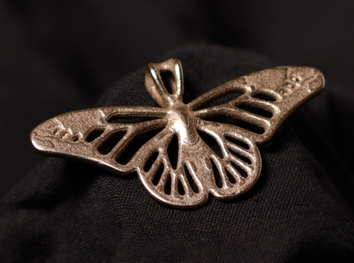 Butterfly Pendant 3d printed Back of Butterfly in Stainless Steel