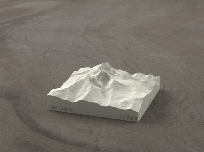 3'' Longs Peak, Colorado, USA, Sandstone 3d printed Radiance rendering
