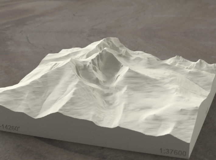 6'' Longs Peak, Colorado, USA, Sandstone 3d printed Radiance rendering