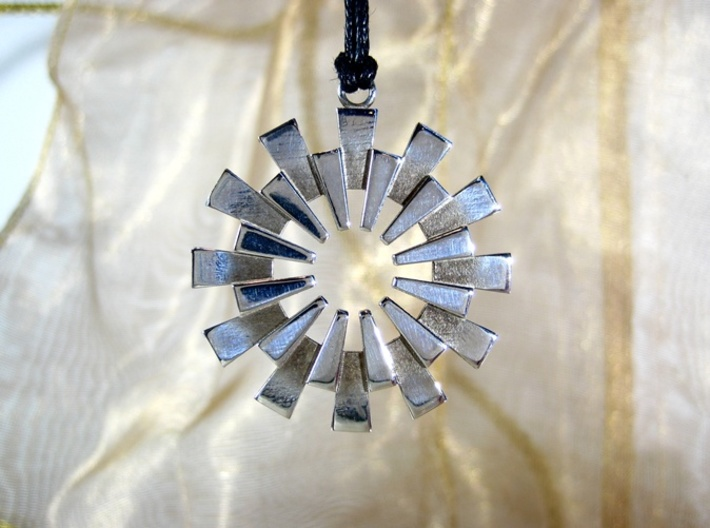 Pendant - 3D Printed Sun in Fine Metals 3d printed The Sunburst Pendant by seriaforma in Polished Silver.