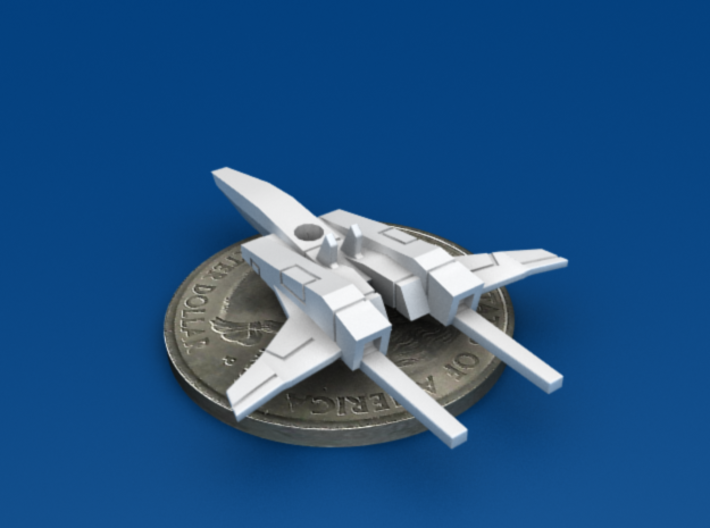 Space Fighter Type-B, 4-Pack 3d printed Back-Bottom 3/4 View
