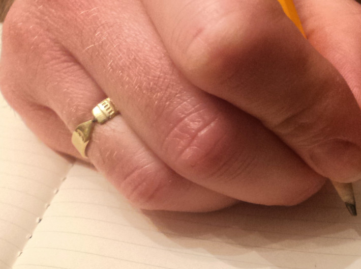 Pencil Ring, Size 9 3d printed Raw brass