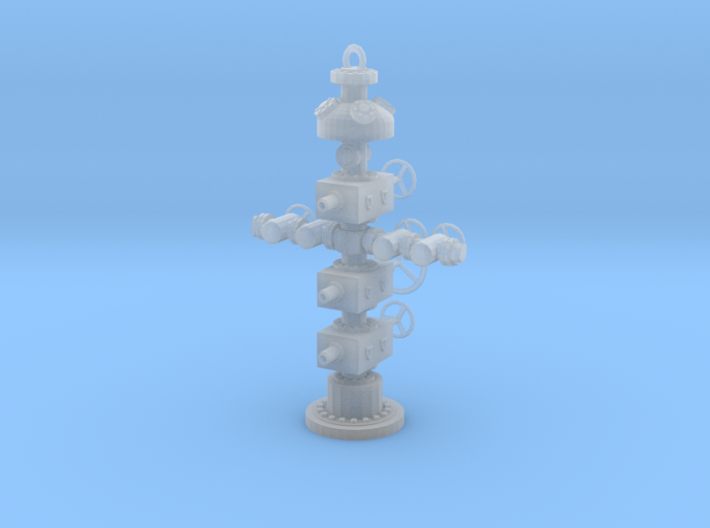 1/87th Hydraulic Fracturing Wellhead with BOP 3d printed
