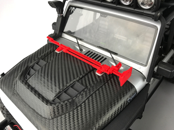 AJ10052 Jack and Hood Mount - BLACK 3d printed Shown in RED mounted to hood of Axial JK (sold separately)