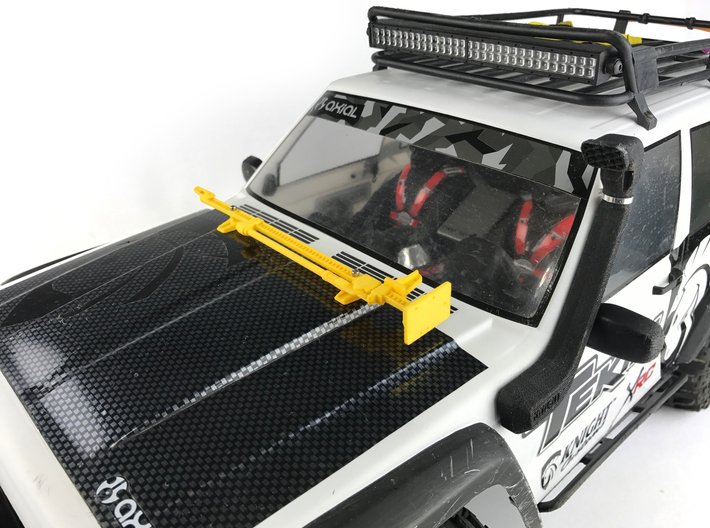 AJ10051 Jack and Hood Mount - YELLOW 3d printed Shown mounted to hood of Axial XJ (sold separately)