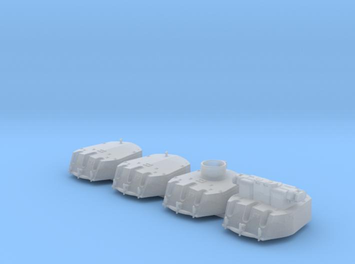 """1/700 RN Triple 6"""" MKXXIII Turrets (4) HMS Fiji 3d printed 1/700 RN Triple 6"""" MKXXIII Turrets (4) HMS Fiji"""