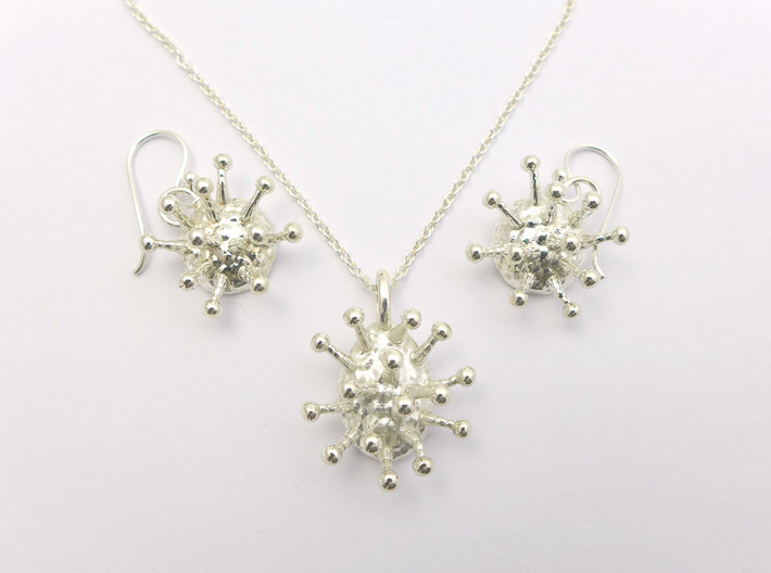 Trichome Pendant 3d printed Trichome pendant and earrings