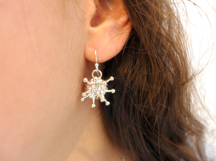 Cannabis Trichome Earrings - Nature Jewelry 3d printed Trichome earrings in polished silver