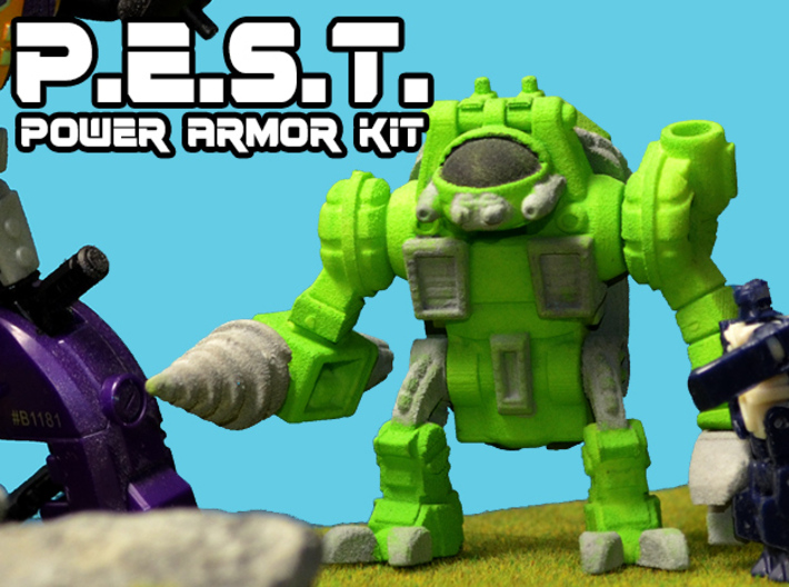 P.E.S.T. Powersuit Figure Kit 3d printed Hand painted white, strong and flexible