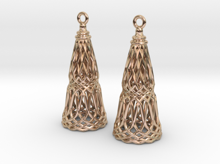 Filligree Cone Earrings 3d printed