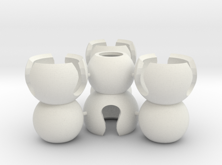 4 Small Popcorn Joints (Sprued) 3d printed Sprued Popcorn Ball-Joints
