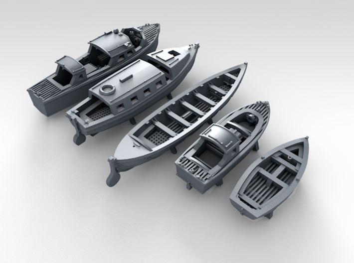 1/600 Scale RN Tribal Class Boat Set 3d printed 3d render showing set