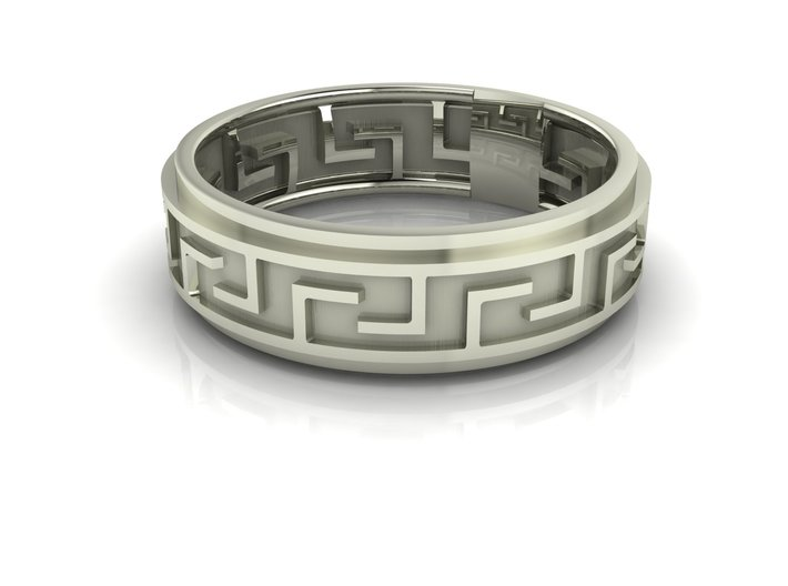 Maze Greek Key ring 3d printed
