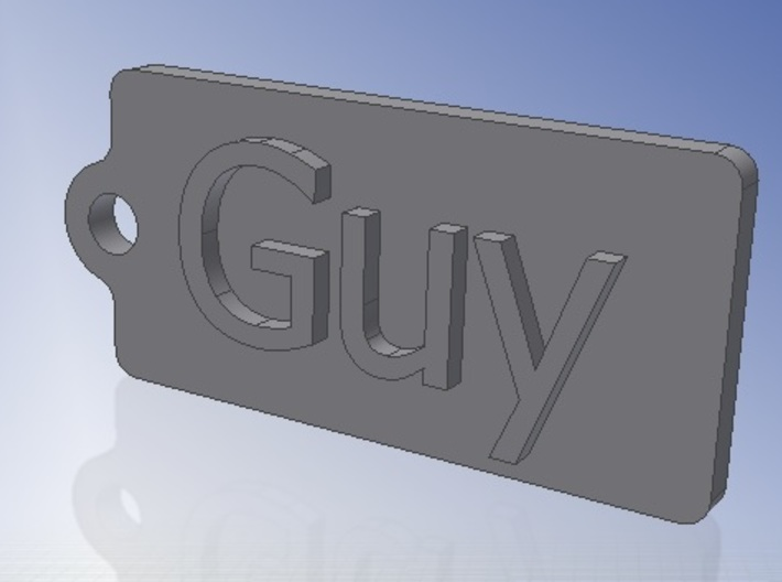 Name Tag Guy Key chain Fob Zipper Tag 2x1x02in 3d printed Render CAD