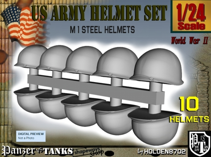 1-24 US M1 Helmets Set1 3d printed
