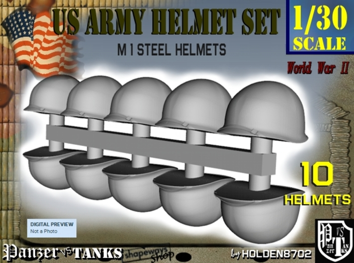 1-30 US M1 Helmets Set1 3d printed